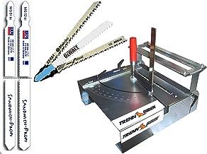 Mesa de sierra de calar 012LH-1 como sierra ingletadora con dispositivo de corte longitudinal + 2 hojas de 180 mm de largo con mango en T para sierras de calar una estación de sierra