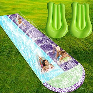 Outdoor 15.12FT Water Slides with Crash Pad Water Toys SOARRUCY Lawn Water Slides for Kids Adults Garden Backyard Giant Racing Lanes and Splash Pool