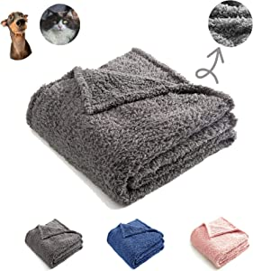 CHEE RAY Premium Sherpa Fleece Blanket, Superior Fluffy and Warmth, Exceptional Blanket as Pet Bed Cover for Small or Medium Dogs and Cats, Gray, 40 X 30 Inches