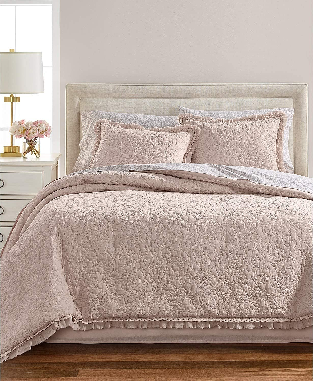 Martha Stewart Collection Crochet and Ruffle 8 Piece Queen Comforter Set pink