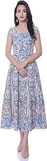 Monique Brand Present Women's 100% Cotton Jaipuri Mandala Print Long Midi Maxi Dress