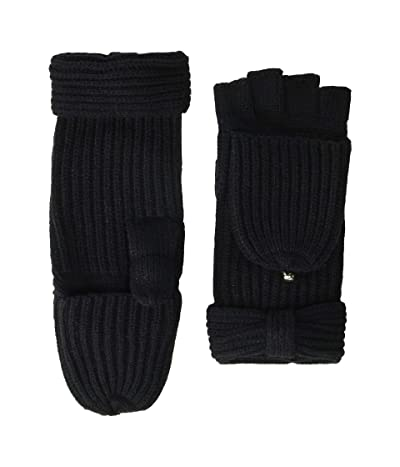 Kate Spade New York Solid Bow Pop Top Mitten (Black 1) Gore-Tex Gloves