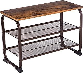 SONGMICS Vintage Shoe Bench Rack, 3-Tier Shoe Storage Shelf for Entryway Hallway Living Room, Wood Look Accent Furniture w...