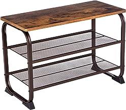 VASAGLE Industrial Shoe Bench Rack, 3-Tier Shoe Storage Shelf for Entryway Hallway Living Room, Wood Look Accent Furniture...