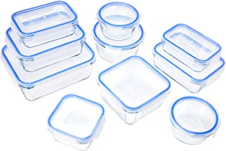 AmazonBasics Recipiente de vidrio para almacenar alimentos, con cierre, 20 piezas, 1