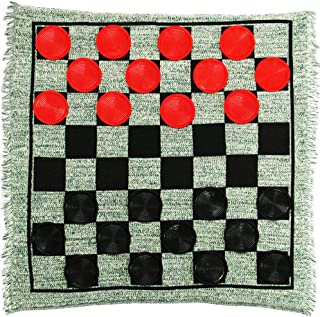 Lulu Home Jumbo Checkers,  Giant 3-in-1 Checkers Game Rug with Super Tic Tac Toe Game Set