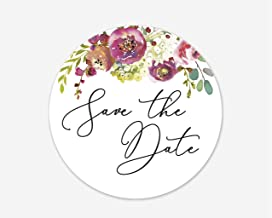 Floral Save The Date Stickers, Wedding and Bridal Shower Event Favor Labels (#379-011)