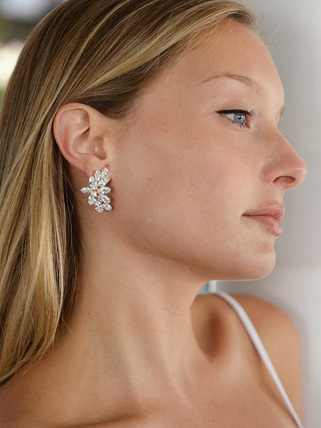 Mariell 14K Gold Plated CZ Clip-On Earrings with Marquis-Cut Clusters - Bridal, Wedding & Mother of Bride