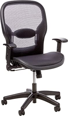 Space Seating Air Grid Back and Seat Managers Chair with Adjustable Flip Arms, and Adjustable Lumbar Support with Nylon Base, Black