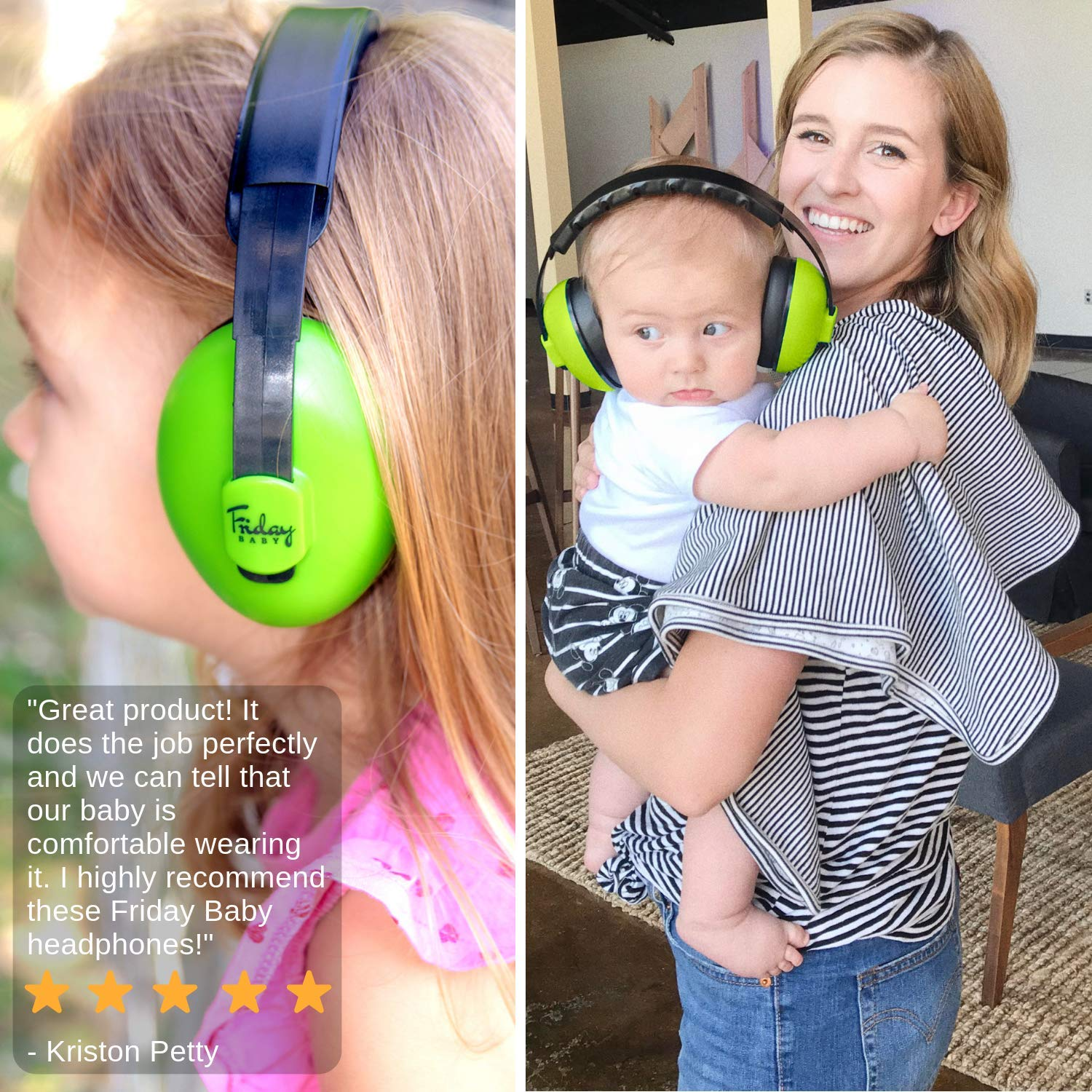 Fridaybaby Baby Ear Protection (0-2+ Years) - Comfortable and Adjustable Noise Cancelling Baby Ear Muffs for Infants & Newborns | Baby Headphones Noise Reduction for Airplanes Fireworks Concert, Blue