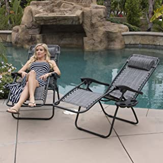 Belleze Set of (2) Adjustable Zero Gravity Adjustable Headrest Lounge Chair Recliners for Patio Pool with Cup Holders - Gray