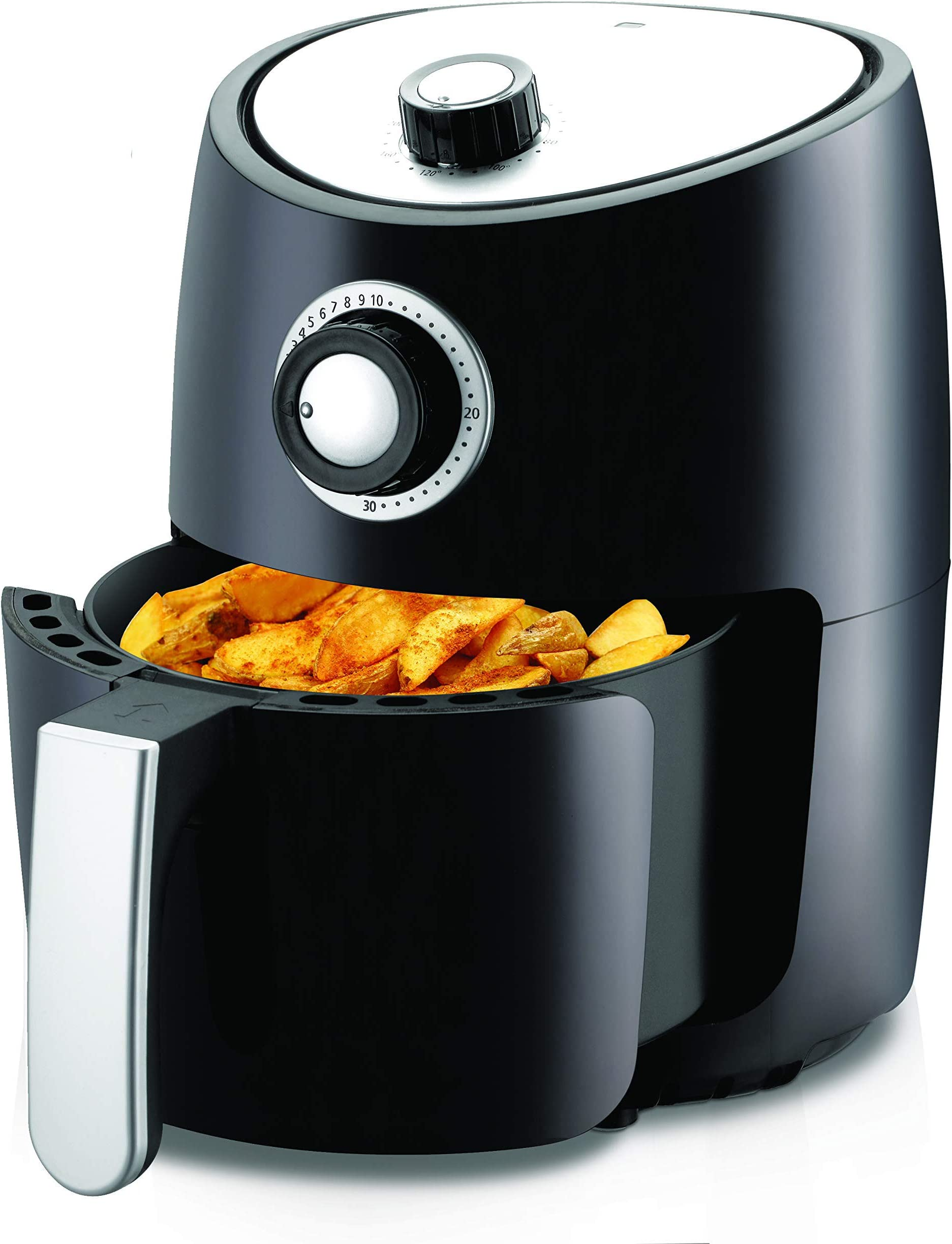 NutriChef, Ro Oven 2 Quart-1000w Power Oilless Dry Machine Large Capacity Family Size Air Fryer Removable Deep Non-stick Teflon Fry Basket, Roasting Plate PKAIR, avarage, Black