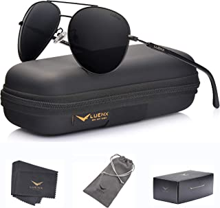 LUENX Aviator Sunglasses Mens Women Polarized Black Lens...