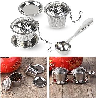OUNONA Infusor de Té en Acero Inoxidable(Pack de 2 Infusores) Con Cucharada de Té y Bandejas de Goteo