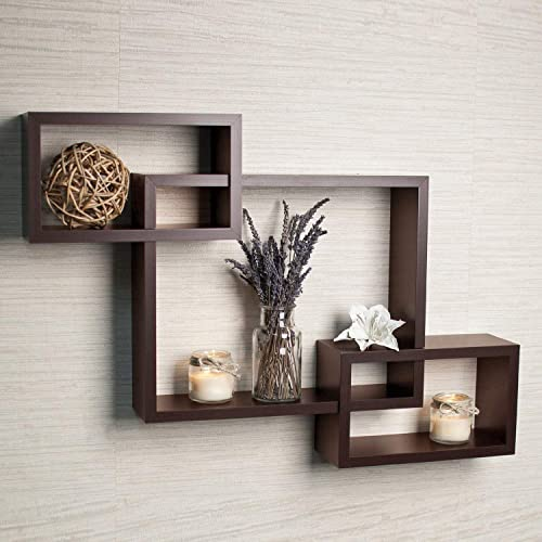 Cherry Wood Wooden Intersecting Floating Shelf Home Decorative Furniture For Home Brown