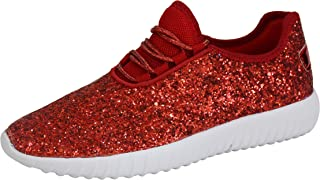 ROXY ROSE Womens Lace Up Glitter Shoes Fashion Metallic Sequins Light Weight Sneaker