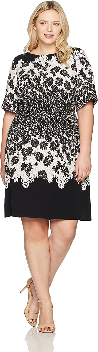 Adrianna Papell Womens Plus Lace Print Fit and Flare Dress