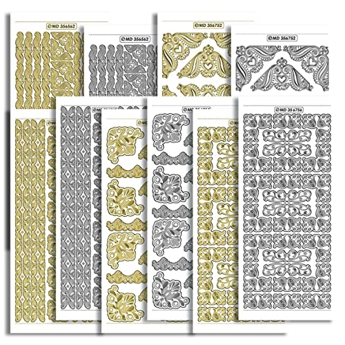 ORNATE CORNERS Peel Off Stickers Wedding Stationery Card Making Gold or Silver