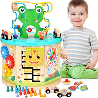 Amagoing Activity Cube, 11 in 1 Baby Educational Toys Wooden Activity Center Bead Maze with Shape Sorter for Boy and Girl