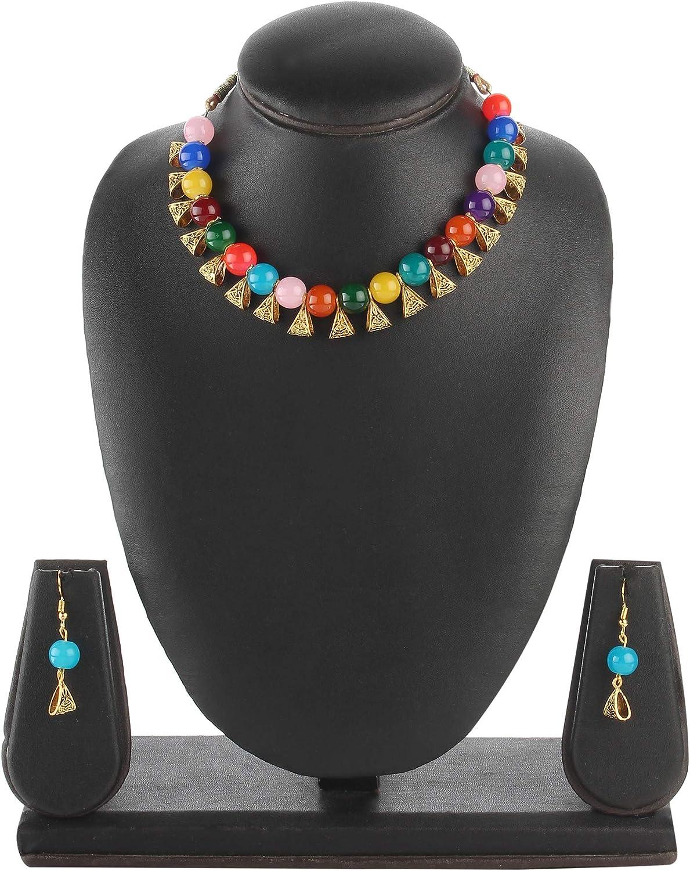 Efulgenz Boho Indian Oxidized Faux Pearl Beaded Vintage Tribal Statement Choker Necklace Earrings Jewelry Set