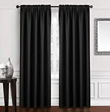 Dreaming Casa Solid Blackout Curtain for Bedroom 96 Inches Long Draperies Window Treatment 2 Panels Black Rod Pocket 2(52