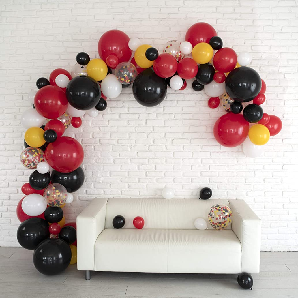 LUNAR BLISS 16 ft Balloon Arch & Garland Kit | 100 Balloons, Black, Red, Confetti | Birthday Party Decorations, Baby Shower, Engagement, Bridal Shower, Wedding, Anniversary, Event (Magical Mouse)