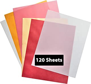 [120 Pack] Premium Vellum Papers (100 Sheets Transparent Vellum Paper & 20 Colored Vellum Paper) Translucent Vellum Paper -Printable Vellum Paper -Trace & Sketch Paper- 8.5 x 11 Vellum Sheets