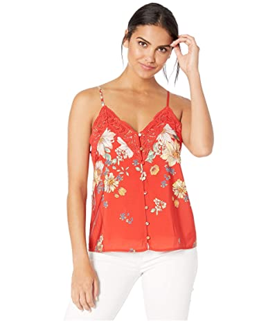 Miss Me Floral Print Cami with Lace Trim (Red) Women