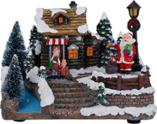 TenWaterloo Lighted Winter Village Town Scene with People and Buildings 3 Inches High Toy Shop and Santa Figurine Battery Operated Christmas Village