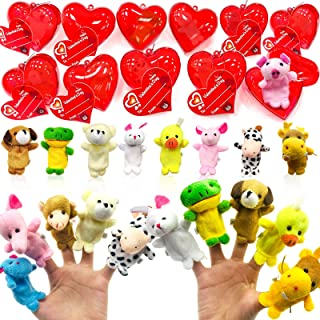 28 Pack Plush Animal Stuffed Toys Filled Valentines Heart 14 Style Animal Toys Finger Puppet Decoration Valentines Cards F...