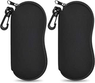 ZZ Sanity (2PCS) Sunglasses Soft Case Ultra Light Neoprene Zipper Eyeglass Case/Belt Clip