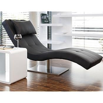 Designer-Liege Chaise-Longue aus Kunstleder schwarz mit vernickeltem  Gestell  Siara  Relax-Liege zum Entspannen aus hochwertigem Kunstleder  schwarz