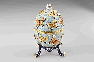 Keren Kopal EX1210 Blue Faberge Egg with Butterflies by Home Decor Collectors Box Russian Egg