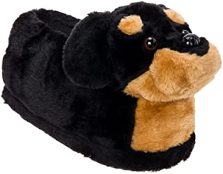 Silver Lilly Rottweiler Slippers - Plush Dog Slippers w/Platform by