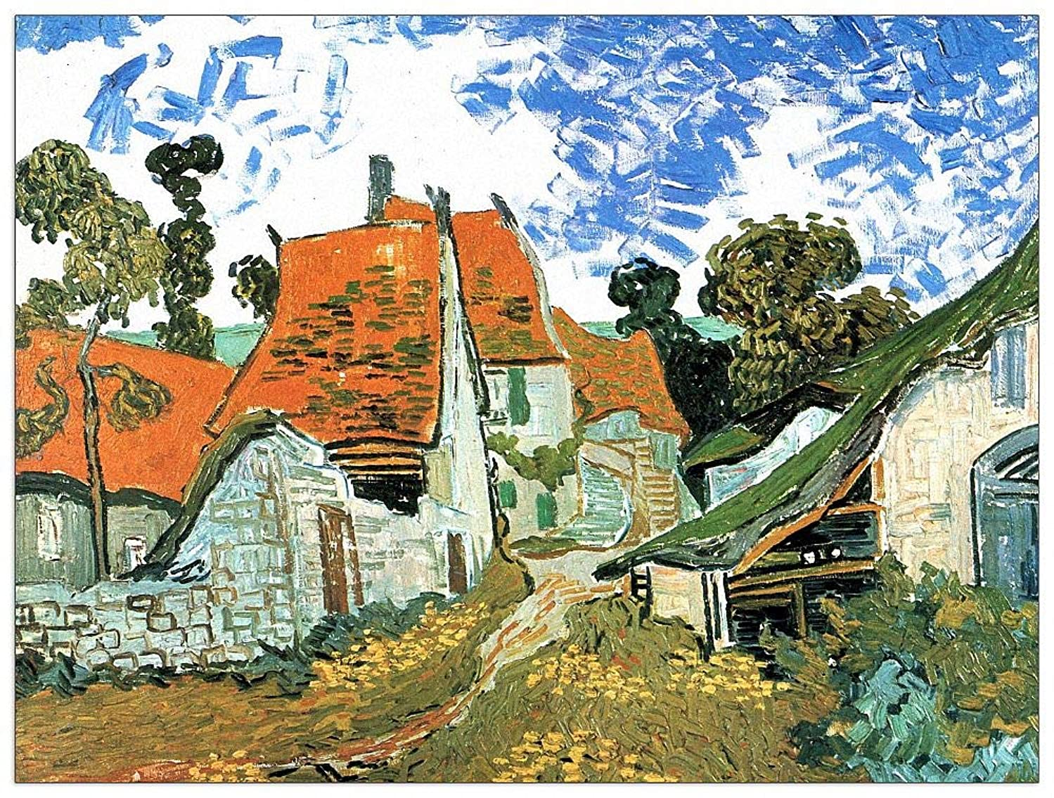 ArtPlaza TW91092 Van Gogh Vincent - Houses in Auvers Decorative Panel 35.5x27.5 Inch Multicolored
