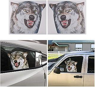 Adesivo de vinil ATMOMO Wolf para janela lateral do carro perfurado divertido decalque para janela de carro esquerdo e dir...