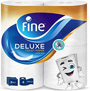 Fine Extra Strong Toilet Tissue Rolls - Pack of 4 Rolls, 150 Sheets x 3 Ply