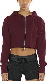 Long Sleeve Crop Top Zip Up Hoodie Workout Clothes Sweatshirts for Women