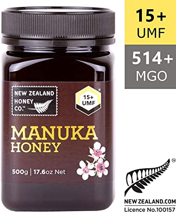 New Zealand Honey Co. Raw Manuka Honey UMF 15+ (MGO 514+) | 500g | From the Remote Wild South Island Region | Non GMO, No Antibiotics, No Additives, Quality Guaranteed