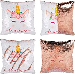 """Reversible Unicorn Sequin Pillow Case - Magic Unicorn Pillow for Girls 