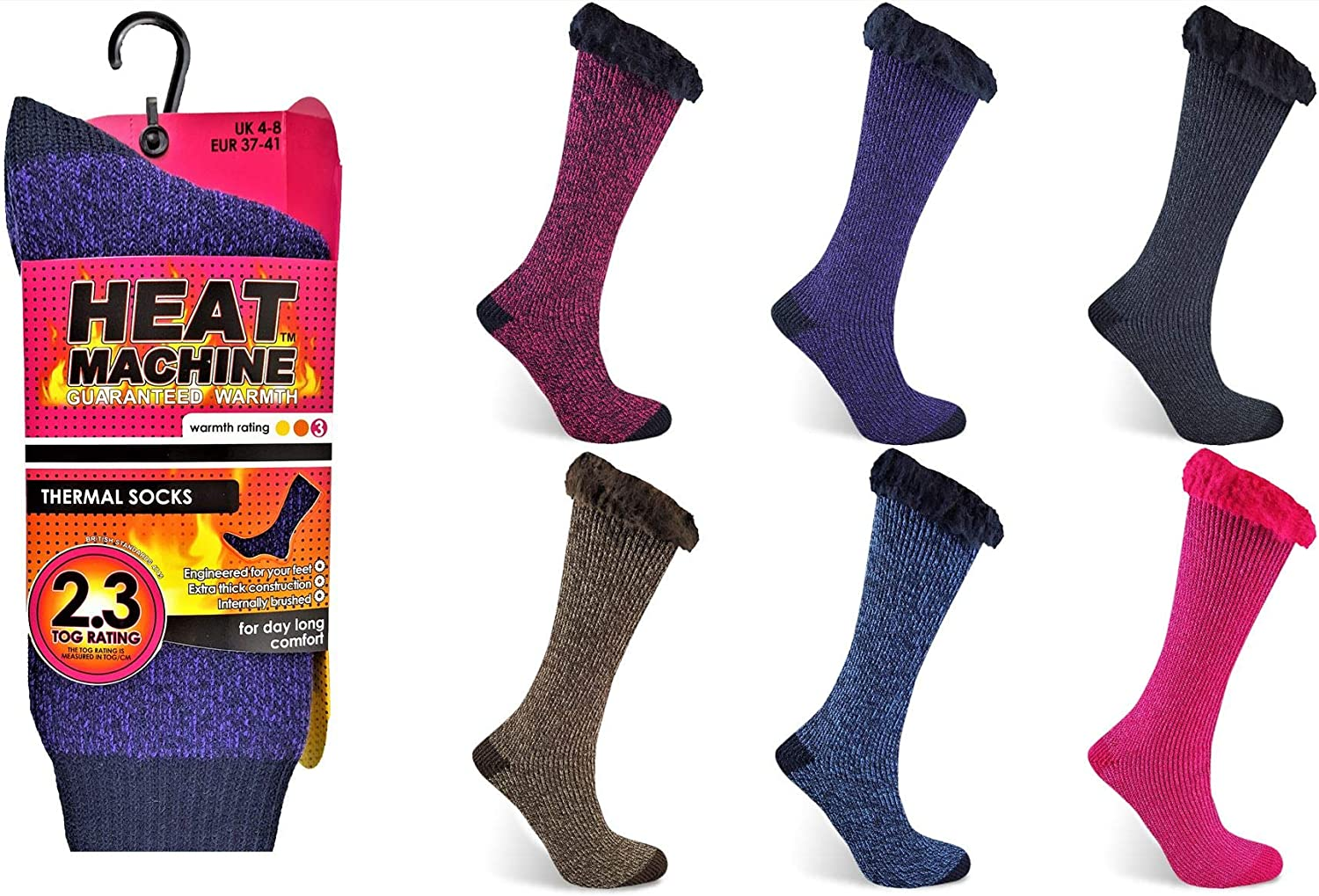 Ladies Thermal Insulated Socks 2.3 Tog Rated Internally Brushed by Heat Machine