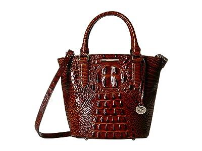 Brahmin Melbourne Small Bowie Satchel (Pecan) Satchel Handbags