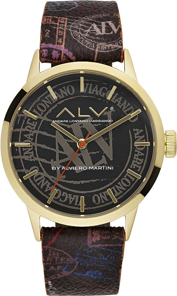 Alviero martini, orologio solo tempo per donna casual, in acciaio gold rose, cinturino in vera pelle ALV0047