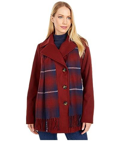 London Fog Double Breasted Short Wool Coat w/ Scarf (Umber) Women