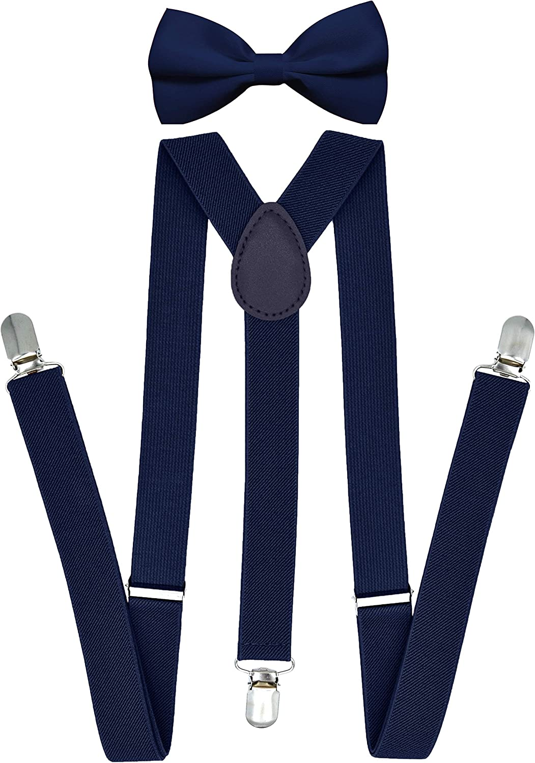 Trilece Suspenders for Men with Bow Tie Set Adjustable 1 inch Wide Y Shape Wedding Suit Accessories Strong Metal Clips
