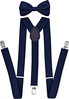 Suspenders and Bowtie Sets for Men Women Adults Boys - Adjustable Elastic Y Back Style Suspender with Bow Tie