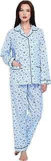 Womens Pajamas Set, 100% Cotton 2-Piece Drawstring Sleepwear