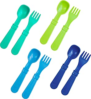 Re-Play Made in USA 8pk Utensils for Easy Baby, Toddler, Child Feeding - Sky Blue, Aqua, Lime, Navy (Under The Sea+)