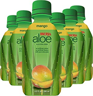 Iberia Aloe Vera Juice Drink, Mango, 9.47 Fl Oz (Pack of 6), with Pure Aloe Pulp, Aloin-Free, No Artificial Flavors Preservatives or Colors, Gluten Free, Vegan, BPA Free Convenient Healthy Juice