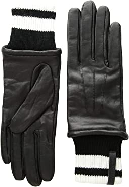 Leather Gloves w/ Striped Knit Cuff